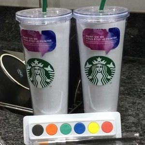 4bc8945a3f5 Starbucks Other | 2 Set Lot Tumbler Cup Paint Coffee New | Poshmark